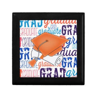 Bright Orange Graduation Cap and Diploma Gift Box