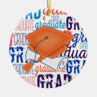 Bright Orange Graduation Cap and Diploma Round Ceramic Decoration