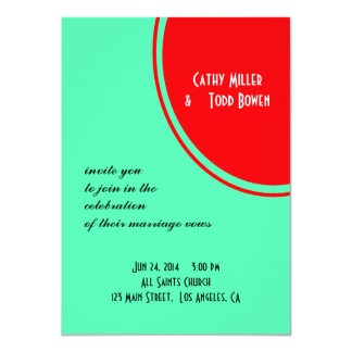 Bright Orange Green Modern Wedding Personalized Invitation