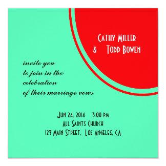 Bright Orange Green Modern Wedding 13 Cm X 13 Cm Square Invitation Card