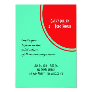 Bright Orange Green Modern Wedding 14 Cm X 19 Cm Invitation Card