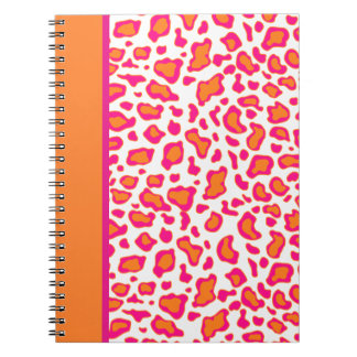 Bright Orange Leopard Print Notebook