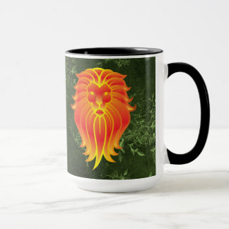 Bright Orange Lion on Green Jungle Background Mug