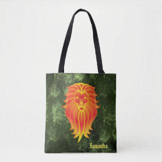 Bright Orange Lion on Green Jungle Background Tote Bag
