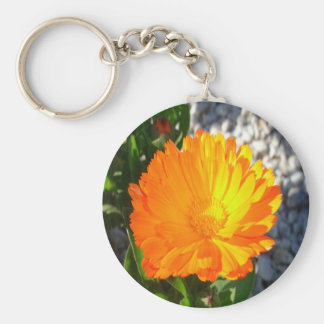 Bright Orange Marigold In Bright Sunlight Key Ring