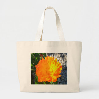 Bright Orange Marigold In Bright Sunlight Large Tote Bag