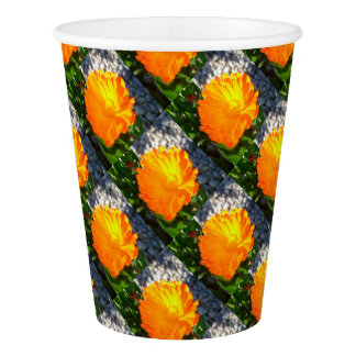 Bright Orange Marigold In Bright Sunlight Paper Cup