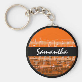 Bright orange music notes customizable keychain