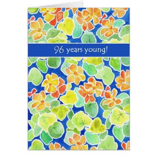 Bright Orange Nasturtiums Floral 96th Birthday Card