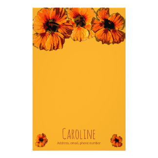 Bright orange nasturtiums - personalised personalized stationery