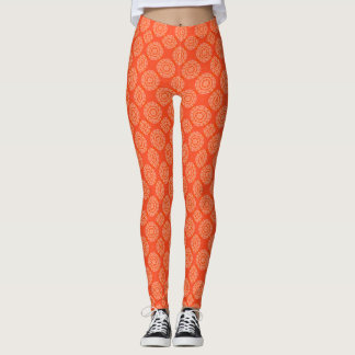 Bright Orange Pattern Small Floral Circle Pattern Leggings