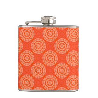 Bright Orange Pattern with Floral Circle Pattern Hip Flask
