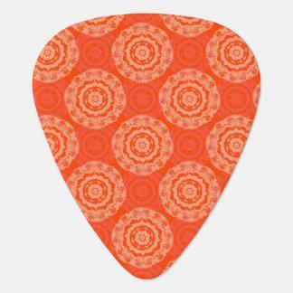 Bright Orange Pattern with Floral Circle Pattern Plectrum