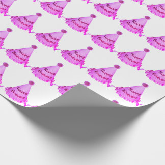 Bright Orange-Pink Happy Birthday Hats Pattern Wrapping Paper