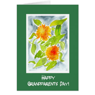 Bright Orange Pot Marigolds Grandparents Day Card