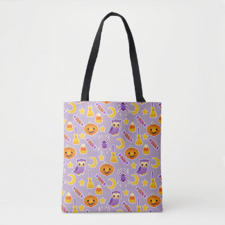 Bright Orange Purple Cartoon Halloween Pattern Tote Bag