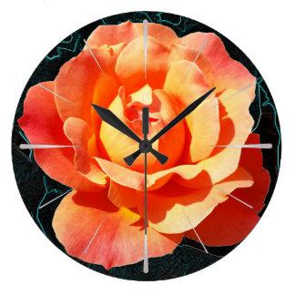 Bright orange rose large clock