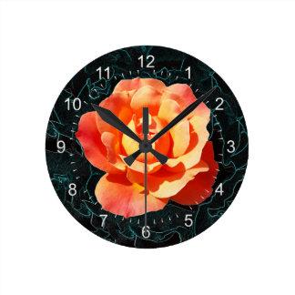 Bright orange rose round clock