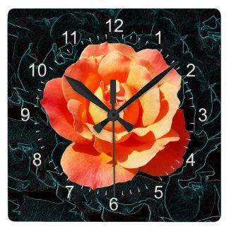 Bright orange rose square wall clock