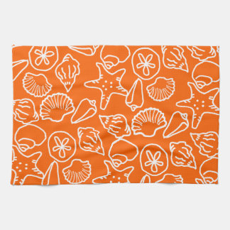 Bright Orange Seashell Art Pattern Kitchen Towel