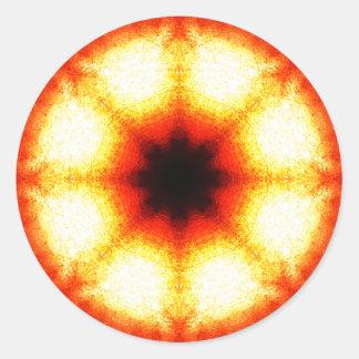 Bright Orange Slice Mandala Round Sticker