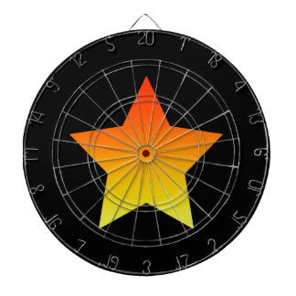 Bright orange star on black. dartboard