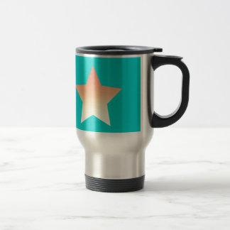 Bright orange star on blue. travel mug