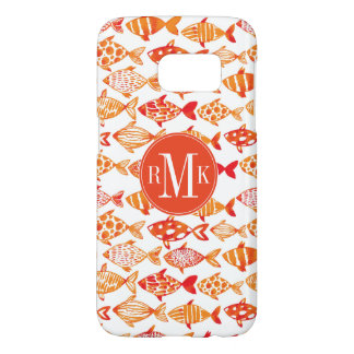 Bright Orange Watercolor Fish Pattern