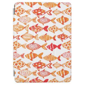 Bright Orange Watercolor Fish Pattern