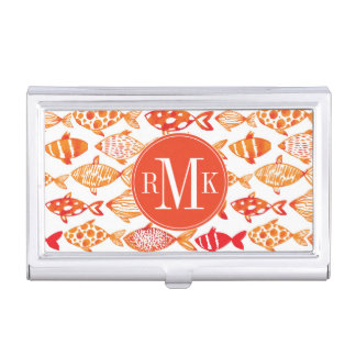 Bright Orange Watercolor Fish Pattern Business Card Holder