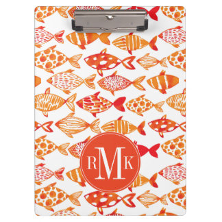 Bright Orange Watercolor Fish Pattern Clipboard