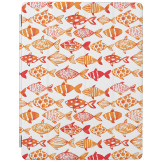 Bright Orange Watercolor Fish Pattern iPad Cover