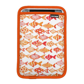 Bright Orange Watercolor Fish Pattern iPad Mini Sleeve