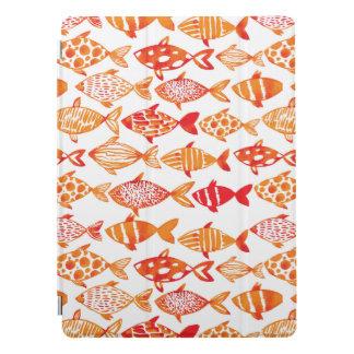 Bright Orange Watercolor Fish Pattern iPad Pro Cover