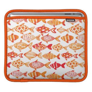 Bright Orange Watercolor Fish Pattern iPad Sleeve