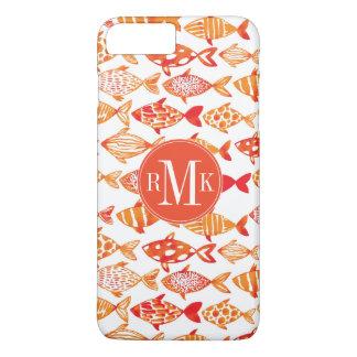 Bright Orange Watercolor Fish Pattern iPhone 8 Plus/7 Plus Case
