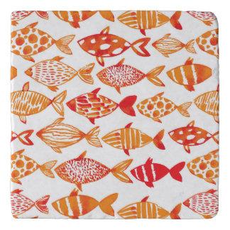 Bright Orange Watercolor Fish Pattern Trivet