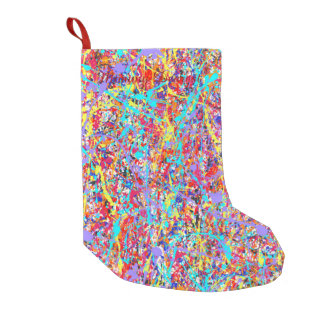 Bright Paint Splatter Abstract Small Christmas Stocking