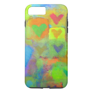 Bright Painted Hearts iPhone 7 Plus Case