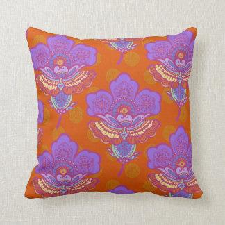 Bright Paisley Florets on Orange Cushion