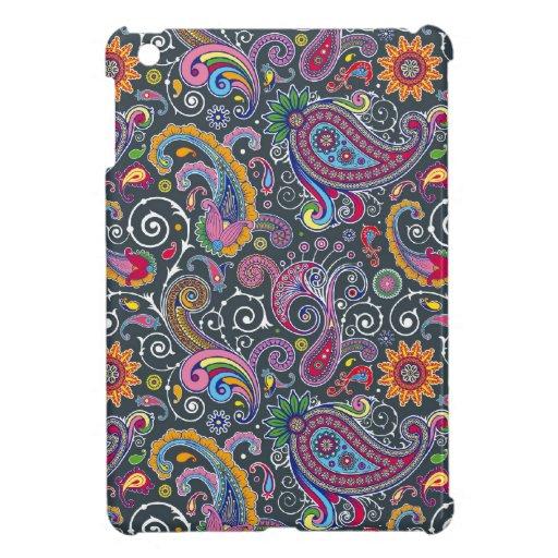 Bright Paisley on Flat Black iPad Mini Cover