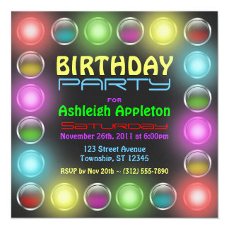 Bright Party Lights Birthday Invitations