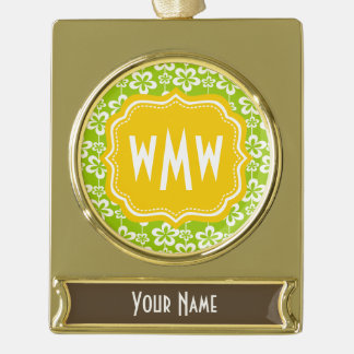 Bright Pastel Floral pattern Personalized Monogram Gold Plated Banner Ornament