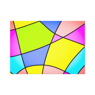 Bright Pastel Squares Abstract Canvas Print