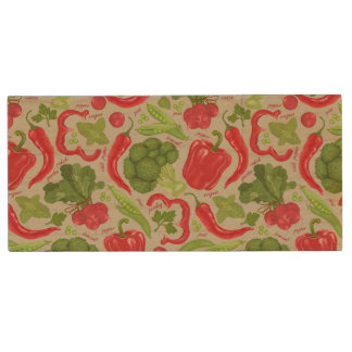 Bright pattern from fresh vegetables wood USB 2.0 flash drive
