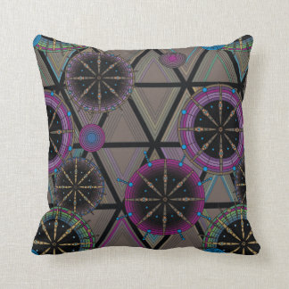 Bright pattern of circles and triangles cushion