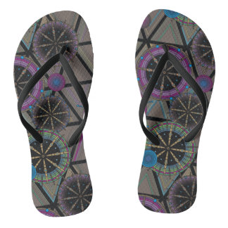 Bright pattern of circles and triangles thongs
