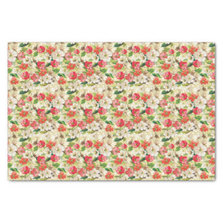 Bright pattern with beige and red flowers tissue paper