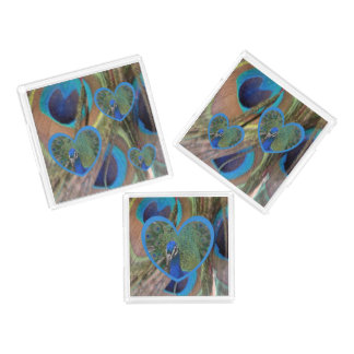 Bright Peacock Feathers Square Serving Tray Set