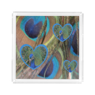 Bright Peacock Feathers with Hearts Square Tray